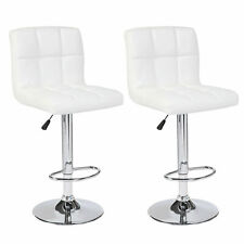 Defective Set of 2 White Leather Bar Stools Adjustable Pub Chairs Good for Use