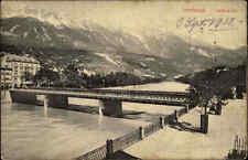 Innsbruck Tirol Österreich s/w AK 1912 gelaufen Blick auf die Innbrücke Berge
