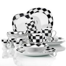 ZOEY 20-pieces Porcelain Dinner Set Ceramic Tableware Dessert Soup Plate Bowl