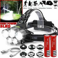 Super-bright 350000LM 5x XM-L T6 LED Headlamp Headlight Flashlight Head Torch