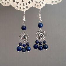Dark Blue Chandelier Earring FLower Lapis Lazuli dangle 925 sterling silver hook