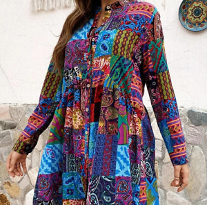 Womens Stand Collar Printing Floral Long Sleeved Boho Ethnic Trend Short Dresses