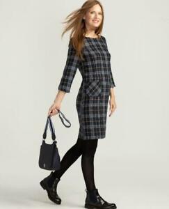 *BNWT* LAURA ASHLEY navy & mustard check shift dress UK 10 patch pockets £85