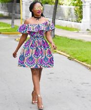GRASS FIELDS AFRICAN ETHNIC WAX PRINT FLORAL OFF SHOULDER DRESS S SMALL 8 4 36