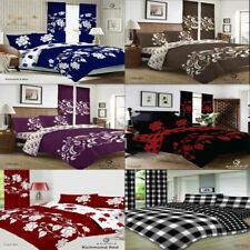 4 Pcs Complete Bedding Set Duvet Cover With Fitted Bed Sheet Single Double King