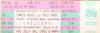 Chris Hiatt & Cold Shot Concert Ticket SRV Tribute1993