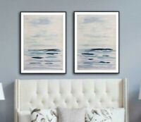 Original Abstract Sea Painting on paper Wall Art blue white set of 2 paintings