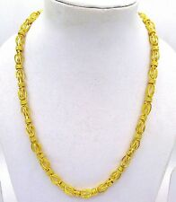 20 INCHES HOLLOW PIPE BYZANTINE STYLE CHAIN NECKLACE UNISEX 22 K GOLD JEWELRY