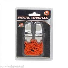 2 pc Metal Referee Whistle Lanyard Emergency Survival w/ Orange Neck String Loud