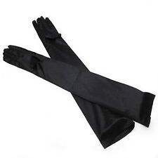 Ladies White Black Red Long Stretchy Satin Wedding Party Evening Prom Gloves