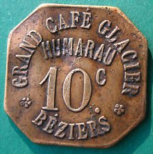 France - Beziers - Grand Cafe Glacier - Humarau -10 c.- brass