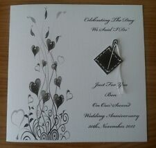 """Hand Made 6"""" Square Personalised 2nd Second Anniversary Card Cotton"""