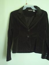 Womens BILL BLASS Stretch Green Corduroy Long Sleeve Shirt Jacket Size Large