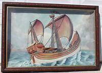 Antique Maritime 19th Century Folk Art Hand Painted Plaster Framed Cased Diorama