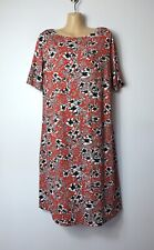 M&S red,black &white vintage-look floral jersey short-sleeve tunic tea dress, 14
