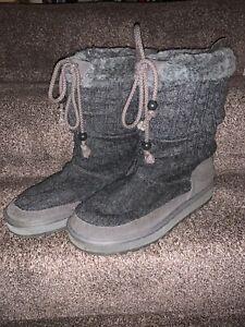 Wonderful Skechers Boots Size 8 Charcoal Grey Knit