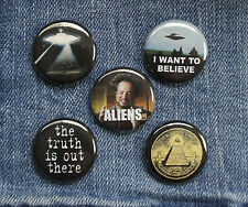 "5 1"" Alien Abduction X-Files Ancient UFO pinback badges buttons"