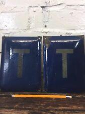 "Vintage Enamel Sign ""T"" Made in Poland Wall Signage Communist Metal Plaque"