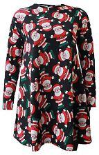 New Ladies Xmas Theme Cherry Stocking Tartan Santa Snowman Reindeer Swing Dress