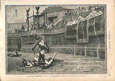 Jean-Leon Gerome Pollice Verso Gladiator Gladiateur GRAVURE ANTIQUE PRINT 1874