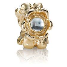PANDORA | 14K GOLD BLUE RIBBON Charm 750343BTP *NEW* GENUINE RETIRED BLUE TOPAZ