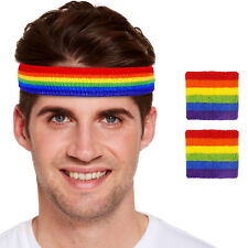 Unisex Rainbow Gay Pride Headband with wristbands Set Fancy Dress Accessories