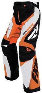 FXR Mens Black/Orange/White Snowmobile Cold Cross Race Replica Pants Snocross