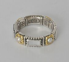 Konstantino Sz 8 Ring Mother of Pearl & Pearl Band Sterling 18K Gold Hestia New