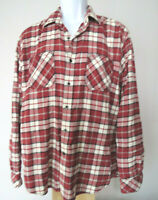 LARGE RED WHITE JAMES CAMPBELL FLANNEL SHIRT long sleeve plaid button checked L
