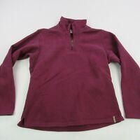 Columbia Long Sleeve 1/4 Zip Shirt Womans Size Large Burgundy Fleece Lining