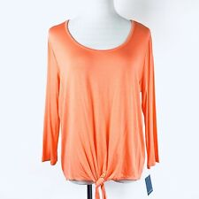 Falls Creek Women's 3/4 Sleeves Tie Front Knit Top Orange Size L New