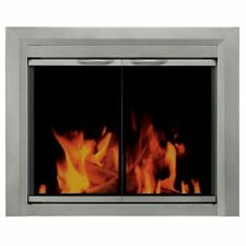 "Pleasant Hearth Glass Fireplace Door Colby Sunlight Nickel Finish 37.5"" x 31"" *"