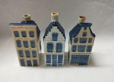 3 x Delft blue KLM Amsterdam miniature canal houses #11, #15 & #27 BOLS bottles