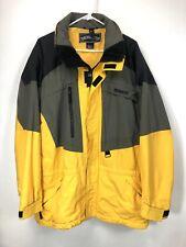 Vintage Obermeyer Men's XL Ski Jacket Telemark Nylon Stowaway Hood Yellow