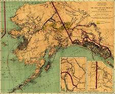 Alaska Gold Fields 1897 Antique Map Rolled Canvas Giclee Print 29x24 in.