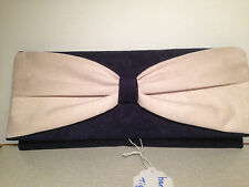 CREAM & NAVY BLUE faux suede clutch bag  fully lined with bow BN, made in the UK