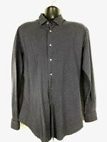 Armani Collezioni men's Large navy and white button front striped long sleeve