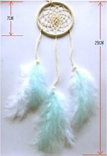 small Ivory dream catcher faux pearls 70mm decor with white and blue feathers