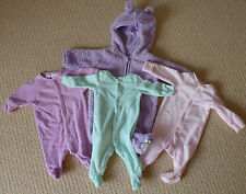 Baby Girls Fleece with Hood and Bow Terry Coverall Romper x 4 Size 0000
