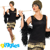 Fringed Flapper Costume Charleston Great Gatsby Womens Ladies Fancy Dress Outfit