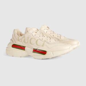 $870 BNIB Gucci 2021 Men's Rhyton Gucci logo leather sneaker 39 40 41 42 43 44