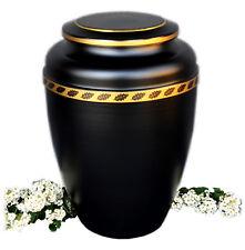 ACCIAIO NERO Urna cremazione per ceneri con oro a nastro FUNERALE adulto memoria