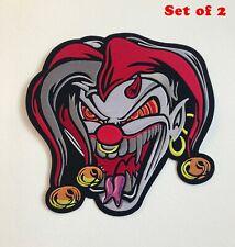More details for jester joker skull large biker jacket back sew on embroidered patch set of 2