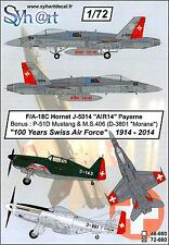 Syhart Decals 1/72 100 YEARS OF THE SWISS AIR FORCE A/F-18 M.S.406 & P-51D