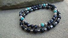 Men's Black Multi Gemstone 6mm Beaded stretch Bracelet Set of 2 Usa
