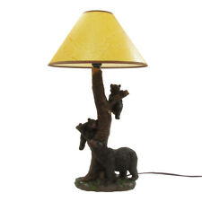 Black Bears w/2 Bear Cubs Table Lamp Rustic Desk Light Hunting Cabin/Home Decor
