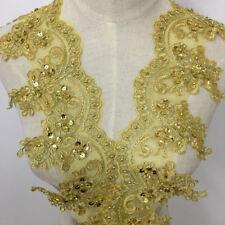 1 Yard Gold Lace Trim Beads Sequins Lace Applique Dress Clothes Curtain Decor
