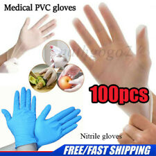 100 Pcs Nitrile Disposable Gloves, Powder Vinyl Latex Free for Food, Lab UK, PVC