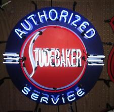 "24""X24"" STUDEBAKER AUTHORIZED SERVICE  US AUTO DEALSHIP REAL NEON SIGN LIGHT"