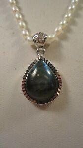 Lee Sands Labradorite Teardrop Pendant w Knotted Pearl Necklace